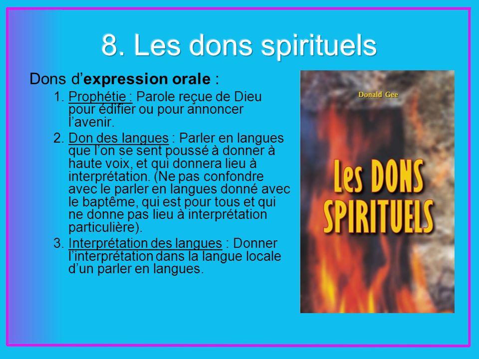 Dons dexpression orale : 1.Prophétie : Parole reçue de Dieu pour édifier ou pour annoncer lavenir.
