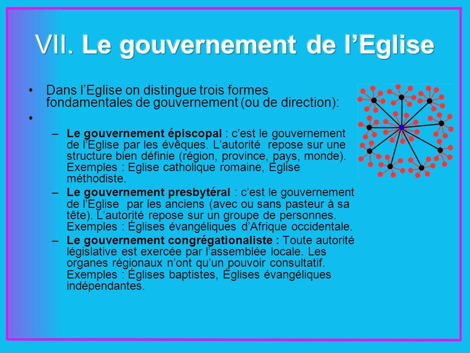 Dans lEglise on distingue trois formes fondamentales de gouvernement (ou de direction): –Le gouvernement épiscopal : cest le gouvernement de lEglise par les évêques.