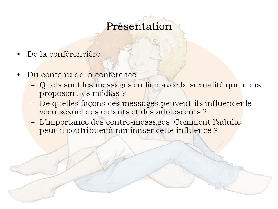 Présentation De la conférencière Du contenu de la conférence –Quels sont les messages en lien avec la sexualité que nous proposent les médias ? –De qu