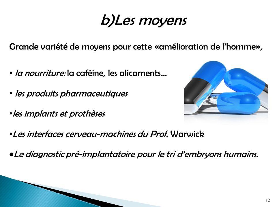 Grande variété de moyens pour cette «amélioration de lhomme», la nourriture: la caféine, les alicaments… les produits pharmaceutiques les implants et prothèses Les interfaces cerveau-machines du Prof.