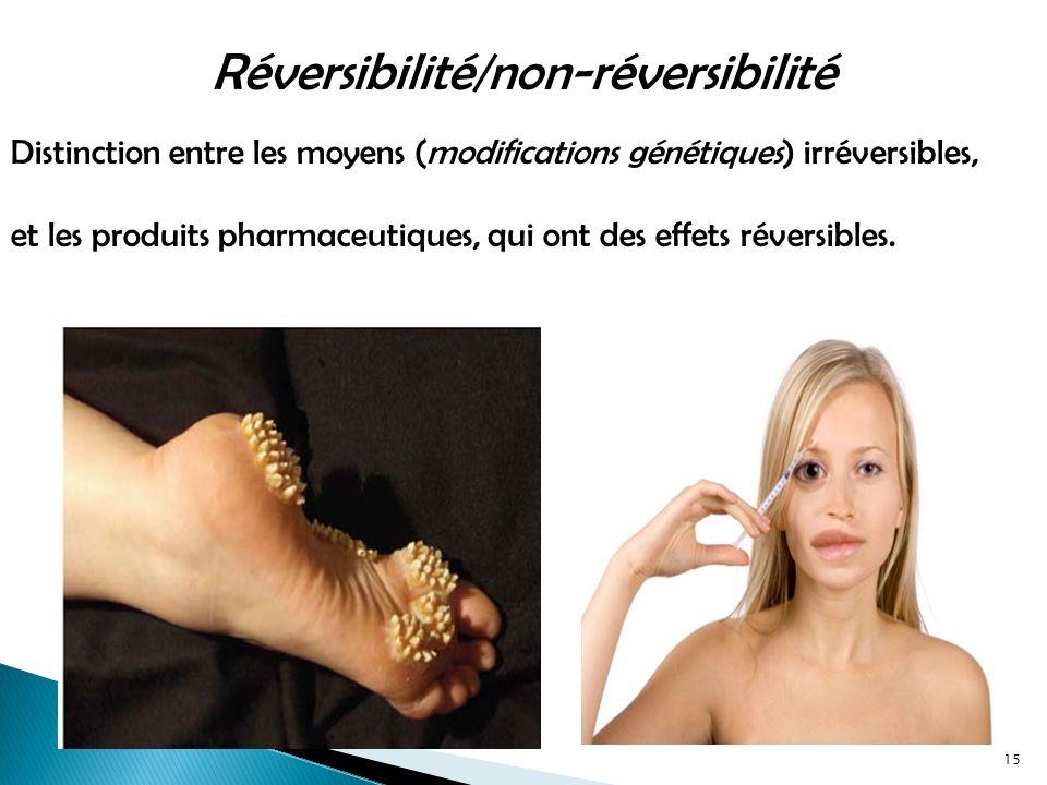 Distinction entre les moyens (modifications génétiques) irréversibles, et les produits pharmaceutiques, qui ont des effets réversibles.