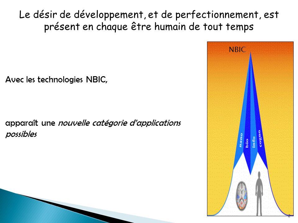 Le désir de développement, et de perfectionnement, est présent en chaque être humain de tout temps Avec les technologies NBIC, apparaît une nouvelle catégorie dapplications possibles NBIC 2