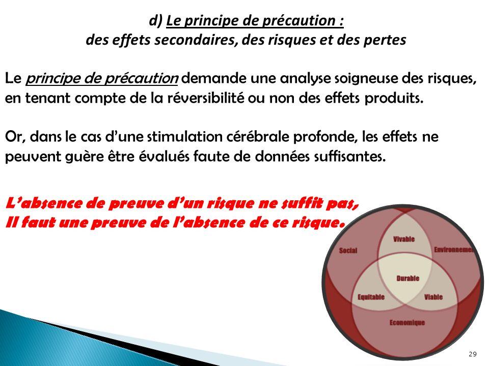 d) Le principe de précaution : des effets secondaires, des risques et des pertes Le principe de précaution demande une analyse soigneuse des risques, en tenant compte de la réversibilité ou non des effets produits.