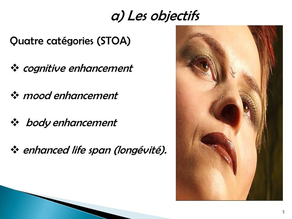 a) Les objectifs Quatre catégories (STOA) cognitive enhancement mood enhancement body enhancement enhanced life span (longévité).