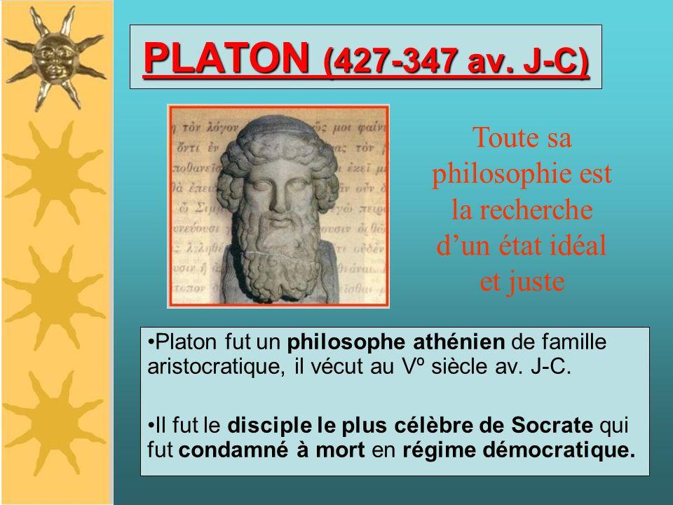 PLATON (427-347 av. J-C) Platon fut un philosophe athénien de famille aristocratique, il vécut au Vº siècle av. J-C. Il fut le disciple le plus célèbr