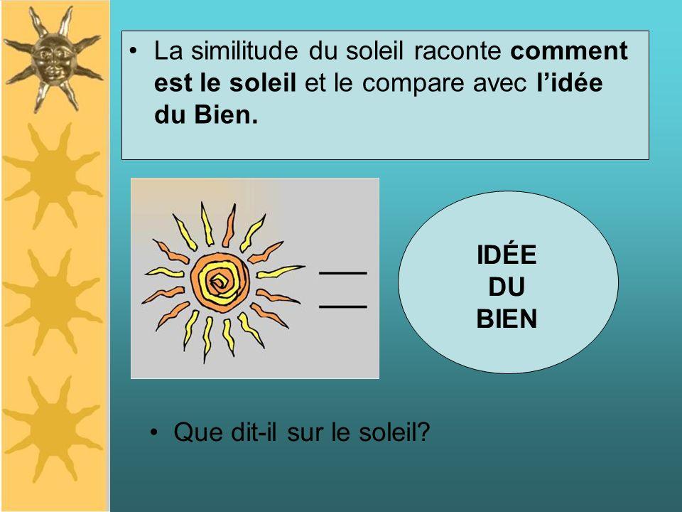 La similitude du soleil raconte comment est le soleil et le compare avec lidée du Bien. IDÉE DU BIEN Que dit-il sur le soleil?