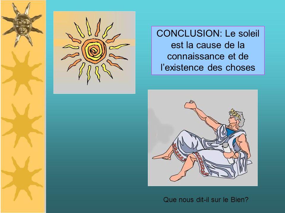 CONCLUSION: Le soleil est la cause de la connaissance et de lexistence des choses Que nous dit-il sur le Bien?