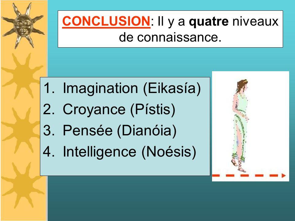 CONCLUSION: Il y a quatre niveaux de connaissance. 1.Imagination (Eikasía) 2.Croyance (Pístis) 3.Pensée (Dianóia) 4.Intelligence (Noésis)