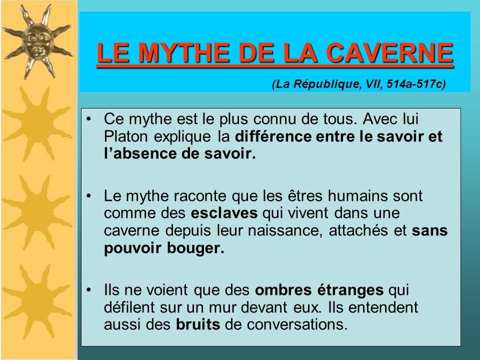 LE MYTHE DE LA CAVERNE Ce mythe est le plus connu de tous. Avec lui Platon explique la différence entre le savoir et labsence de savoir. Le mythe raco