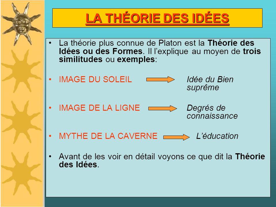LA THÉORIE DES IDÉES La théorie plus connue de Platon est la Théorie des Idées ou des Formes. Il lexplique au moyen de trois similitudes ou exemples:
