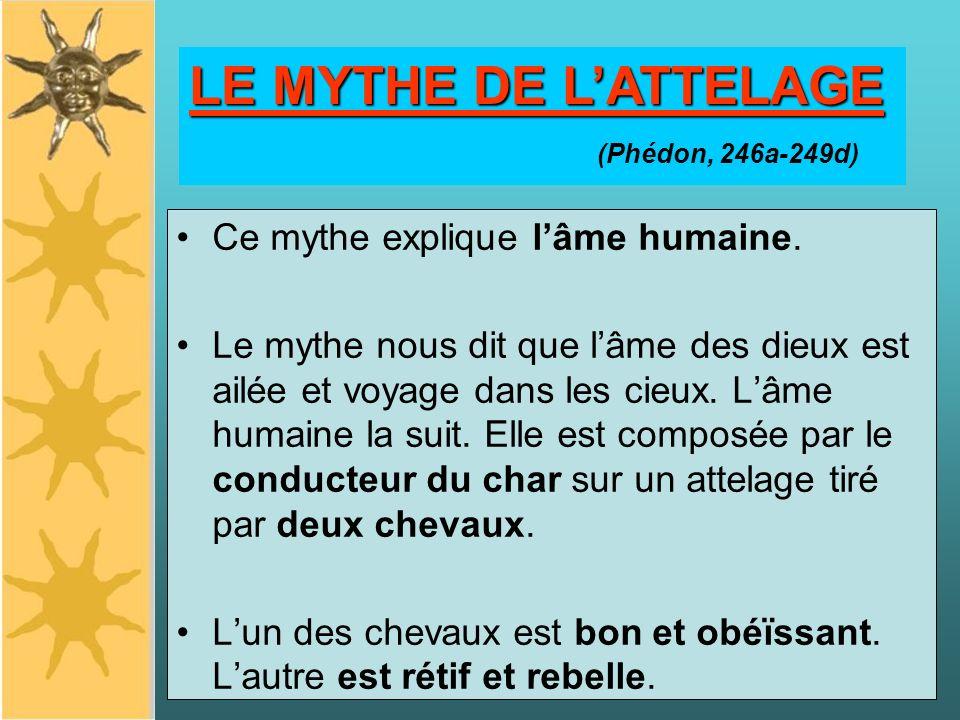 LE MYTHE DE LATTELAGE Ce mythe explique lâme humaine. Le mythe nous dit que lâme des dieux est ailée et voyage dans les cieux. Lâme humaine la suit. E