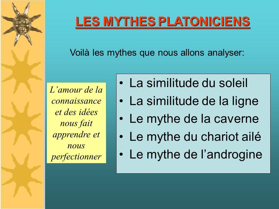 LES MYTHES PLATONICIENS La similitude du soleil La similitude de la ligne Le mythe de la caverne Le mythe du chariot ailé Le mythe de landrogine Voilà les mythes que nous allons analyser: Lamour de la connaissance et des idées nous fait apprendre et nous perfectionner LES MYTHES PLATONICIENS
