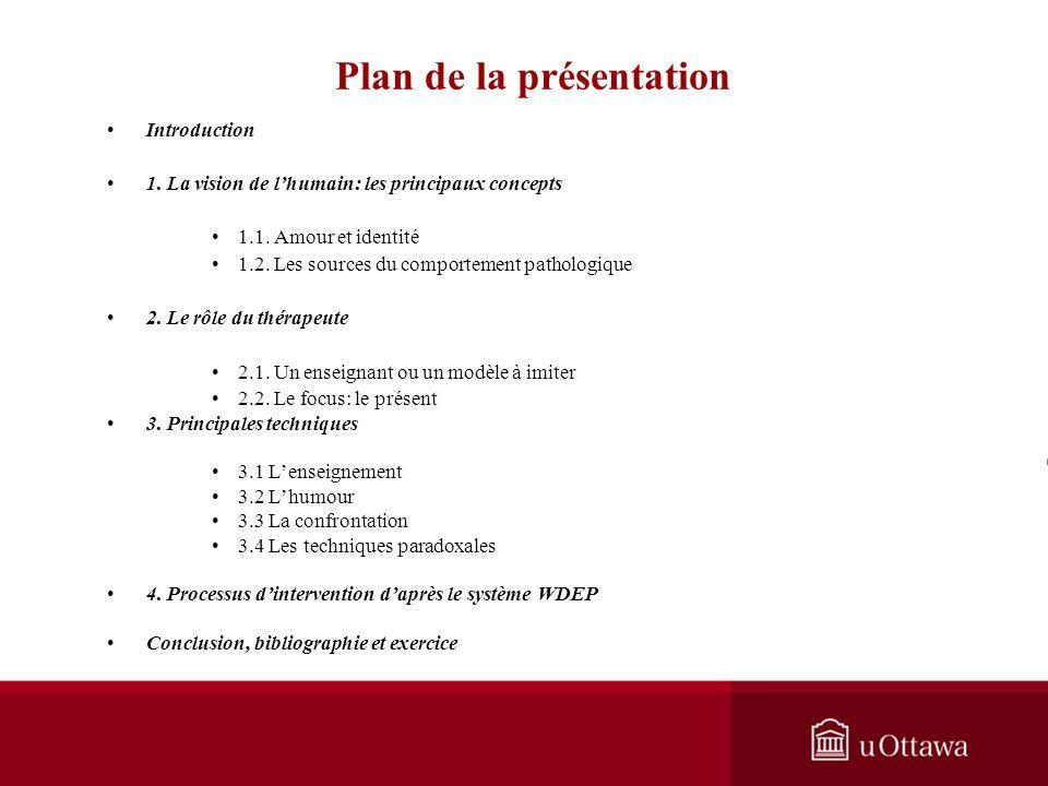 Plan de la présentation Introduction 1.La vision de lhumain: les principaux concepts 1.1.