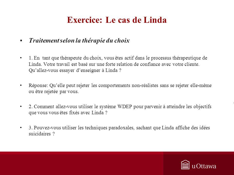 Exercice: Le cas de Linda Conceptualisation Selon la thérapie du choix, Linda évite de se décider dans sa vie.