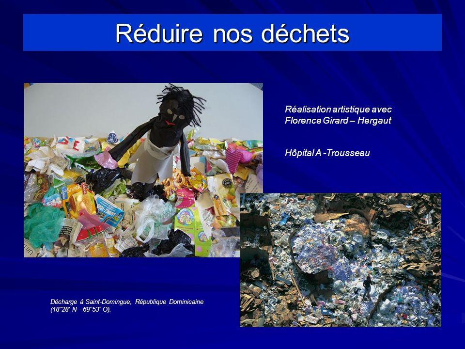 Réduire nos déchets Réalisation artistique avec Florence Girard – Hergaut Hôpital A -Trousseau Décharge à Saint-Domingue, République Dominicaine (18°28 N - 69°53 O).