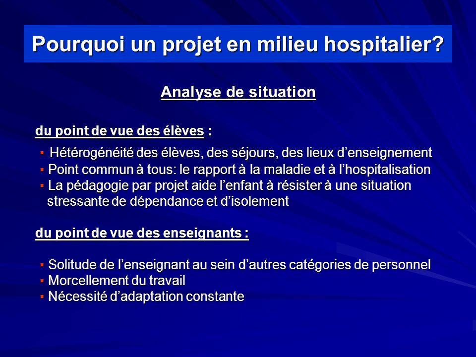 Pourquoi un projet en milieu hospitalier.