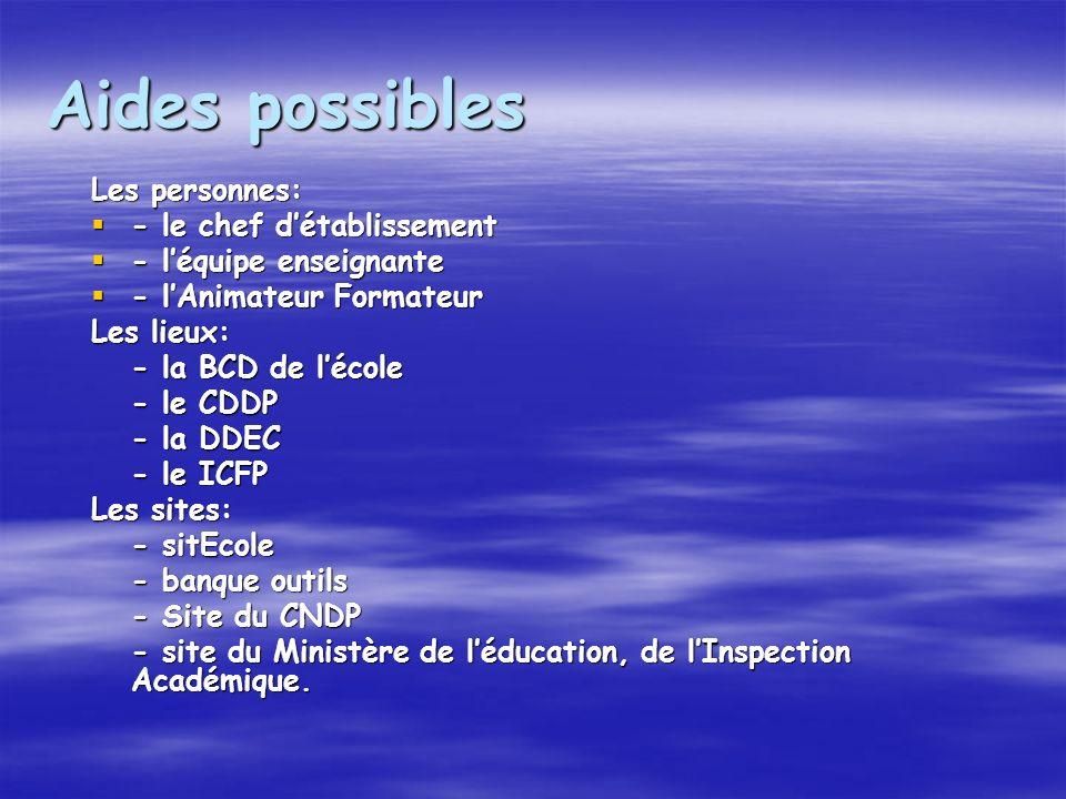 Aides possibles Les personnes: - le chef détablissement - le chef détablissement - léquipe enseignante - léquipe enseignante - lAnimateur Formateur - lAnimateur Formateur Les lieux: - la BCD de lécole - le CDDP - la DDEC - le ICFP Les sites: - sitEcole - banque outils - Site du CNDP - site du Ministère de léducation, de lInspection Académique.