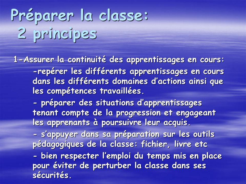 Préparer la classe: 2 principes 1-Assurer la continuité des apprentissages en cours: -repérer les différents apprentissages en cours dans les différents domaines dactions ainsi que les compétences travaillées.