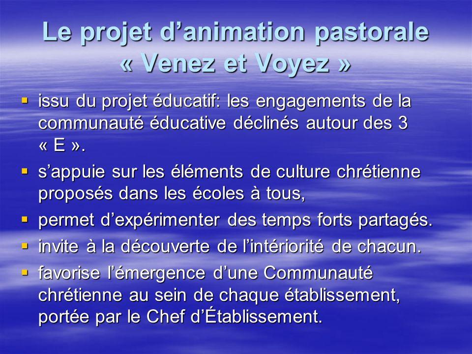Le projet danimation pastorale « Venez et Voyez » issu du projet éducatif: les engagements de la communauté éducative déclinés autour des 3 « E ».