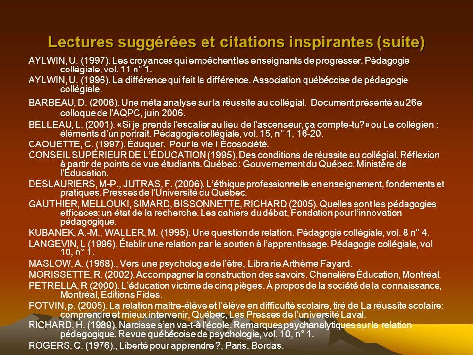 Lectures suggérées et citations inspirantes (suite) AYLWIN, U.