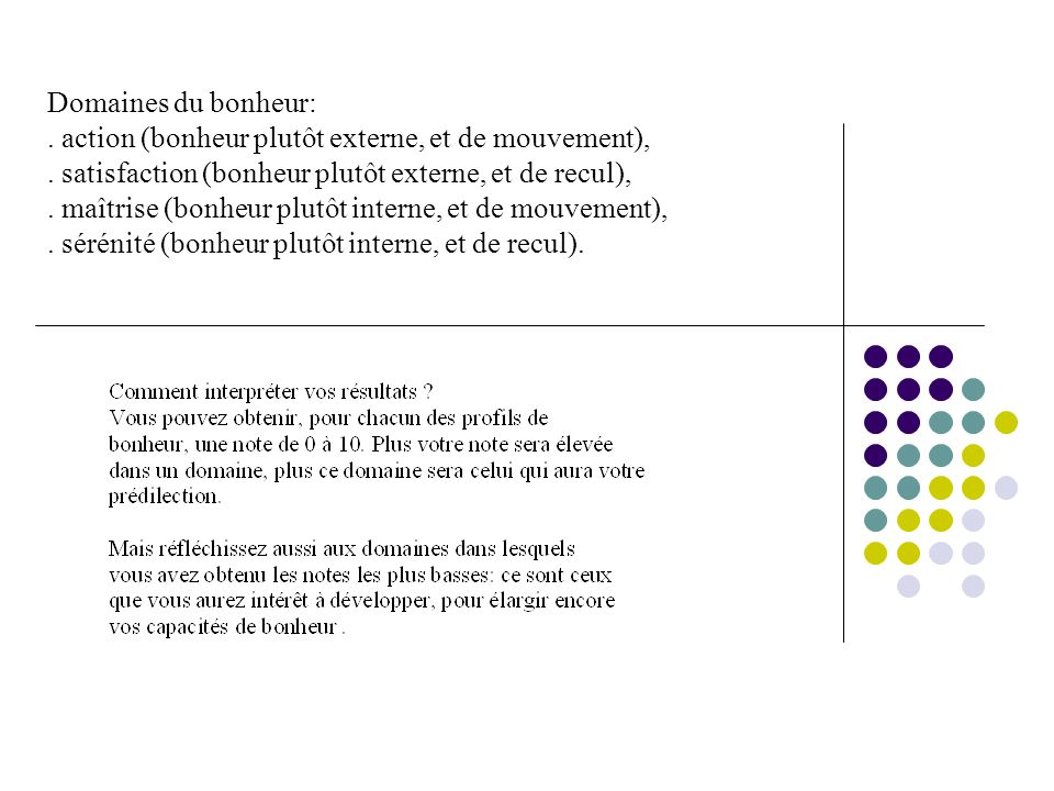 Domaines du bonheur:. action (bonheur plutôt externe, et de mouvement),.