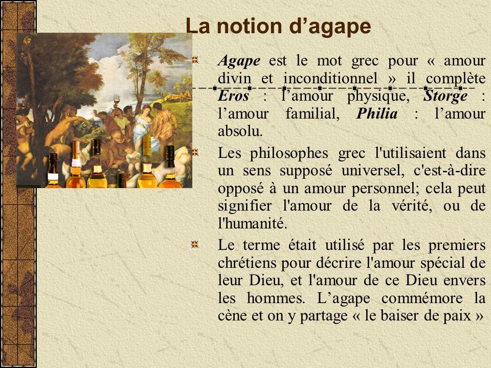 La notion dagape Agape est le mot grec pour « amour divin et inconditionnel » il complète Eros : lamour physique, Storge : lamour familial, Philia : lamour absolu.
