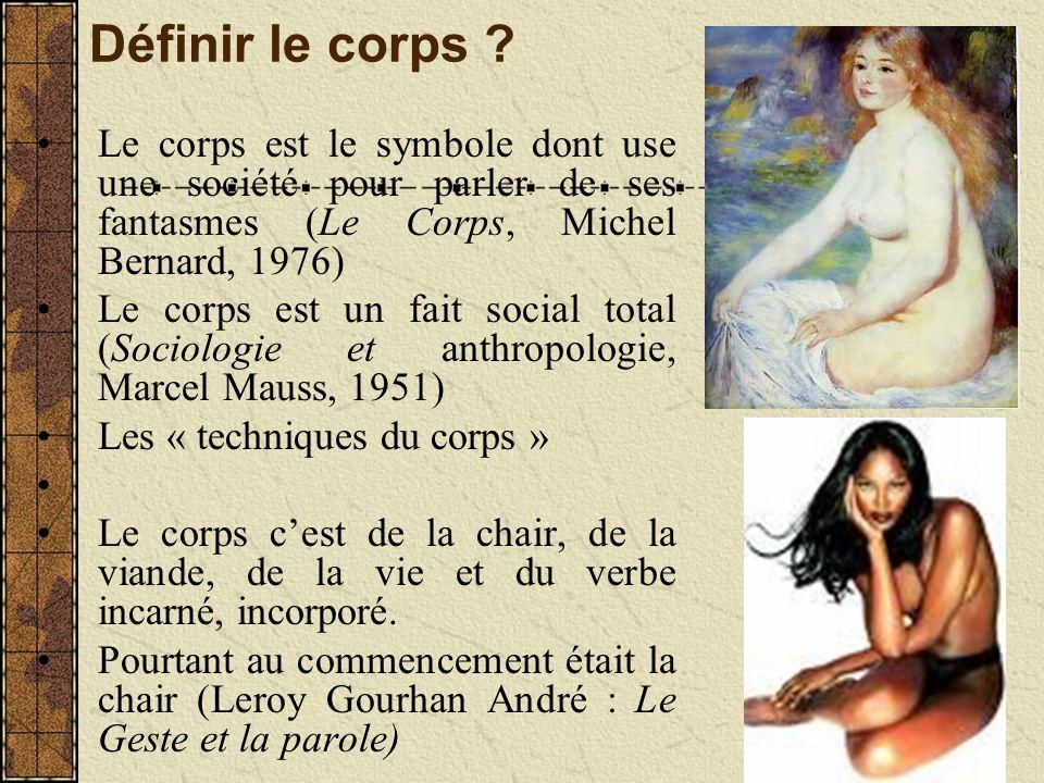 Définir le corps ? Le corps est le symbole dont use une société pour parler de ses fantasmes (Le Corps, Michel Bernard, 1976) Le corps est un fait soc