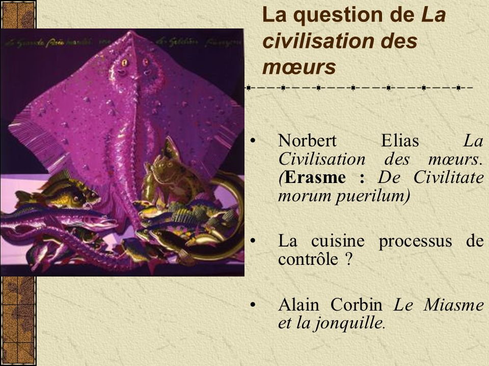 La question de La civilisation des mœurs Norbert Elias La Civilisation des mœurs.