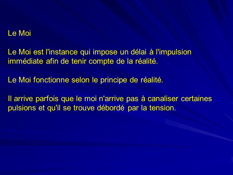 Le Moi Le Moi est l instance qui impose un délai à l impulsion immédiate afin de tenir compte de la réalité.