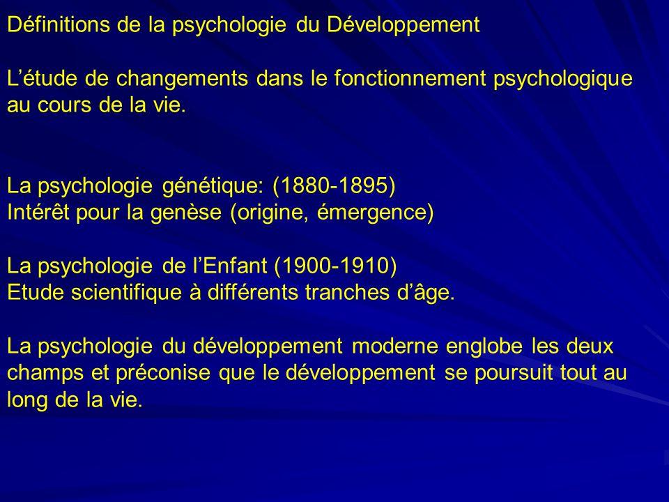 Définitions de la psychologie du Développement Létude de changements dans le fonctionnement psychologique au cours de la vie.
