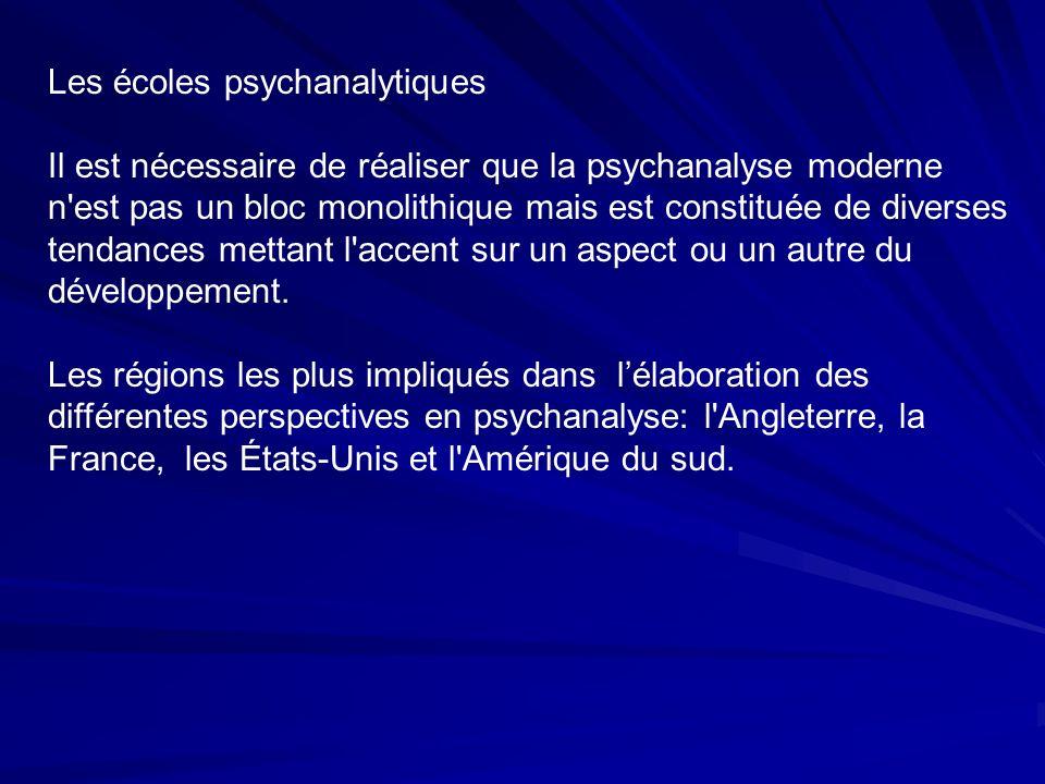 Les écoles psychanalytiques Il est nécessaire de réaliser que la psychanalyse moderne n est pas un bloc monolithique mais est constituée de diverses tendances mettant l accent sur un aspect ou un autre du développement.