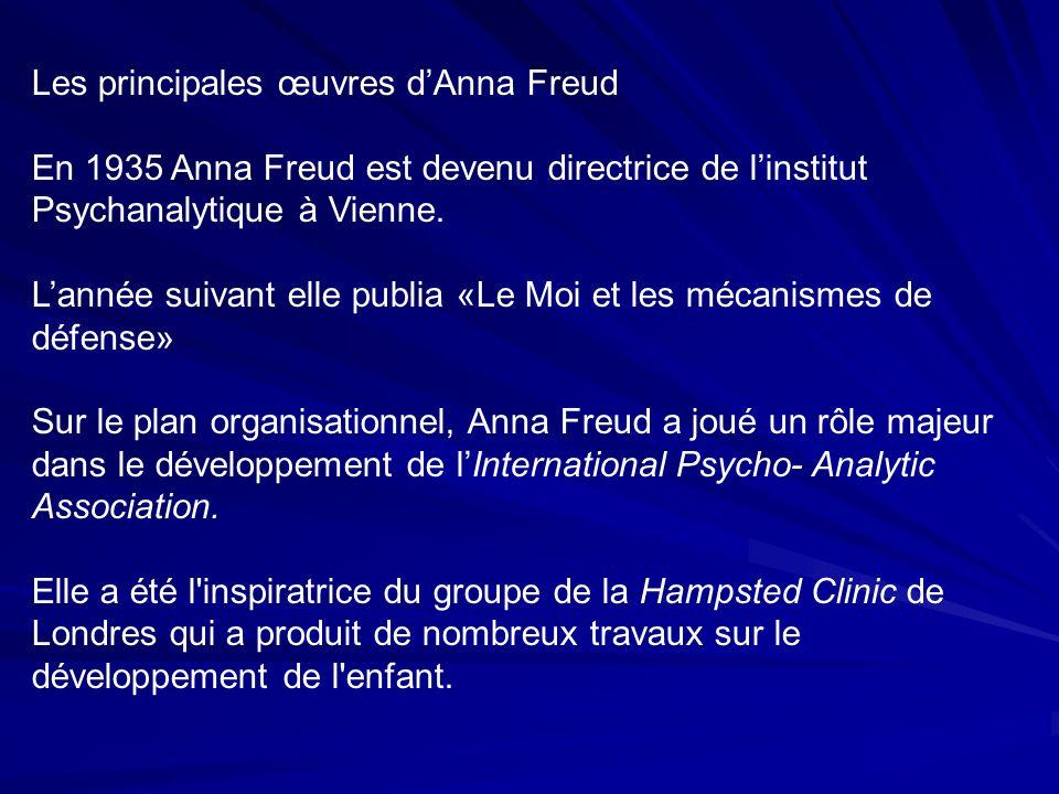 Les principales œuvres dAnna Freud En 1935 Anna Freud est devenu directrice de linstitut Psychanalytique à Vienne.