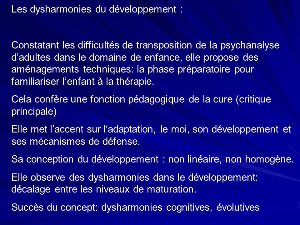 Les dysharmonies du développement : Constatant les difficultés de transposition de la psychanalyse dadultes dans le domaine de enfance, elle propose des aménagements techniques: la phase préparatoire pour familiariser lenfant à la thérapie.