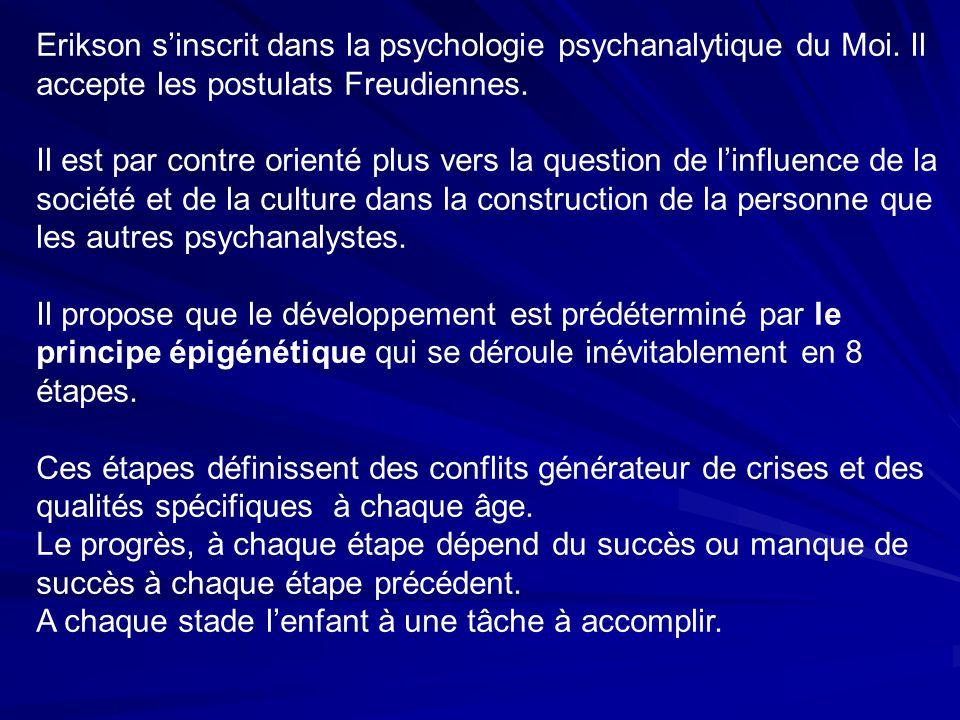 Erikson sinscrit dans la psychologie psychanalytique du Moi.
