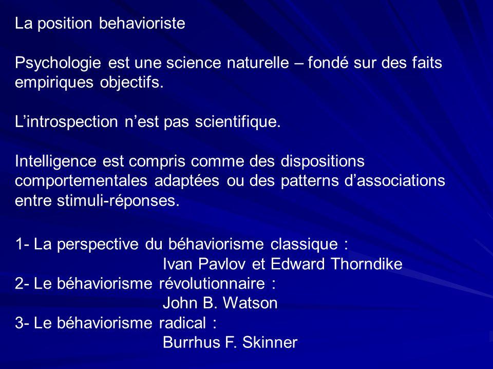 1- La perspective du béhaviorisme classique : Ivan Pavlov et Edward Thorndike 2- Le béhaviorisme révolutionnaire : John B.