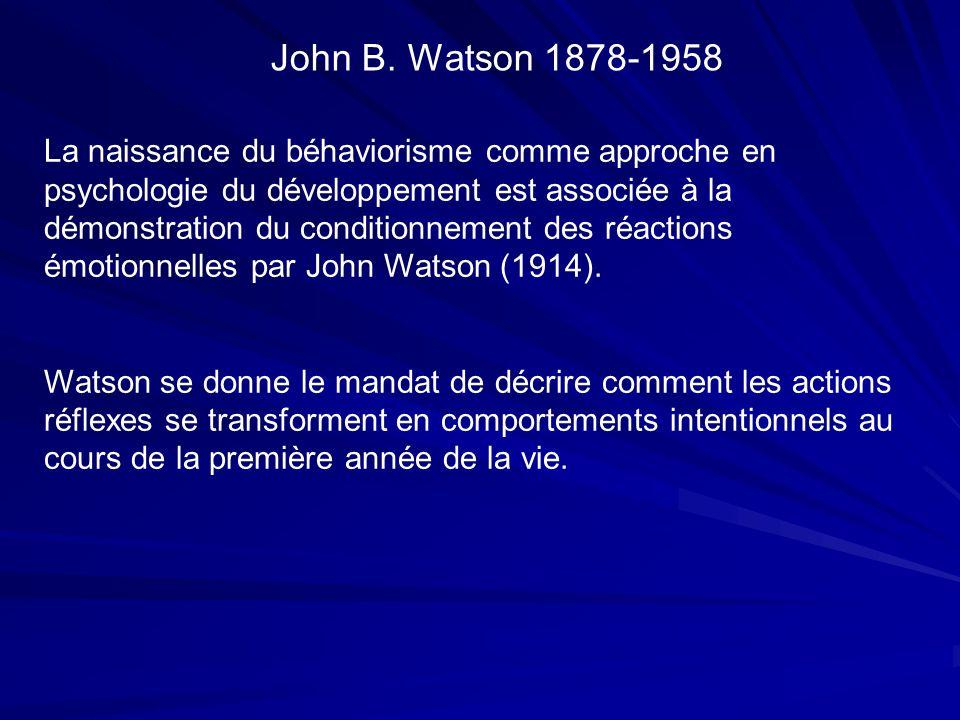 La naissance du béhaviorisme comme approche en psychologie du développement est associée à la démonstration du conditionnement des réactions émotionnelles par John Watson (1914).
