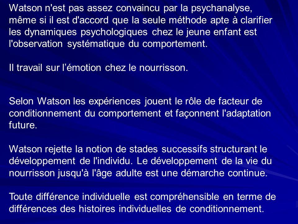 Watson n est pas assez convaincu par la psychanalyse, même si il est d accord que la seule méthode apte à clarifier les dynamiques psychologiques chez le jeune enfant est l observation systématique du comportement.