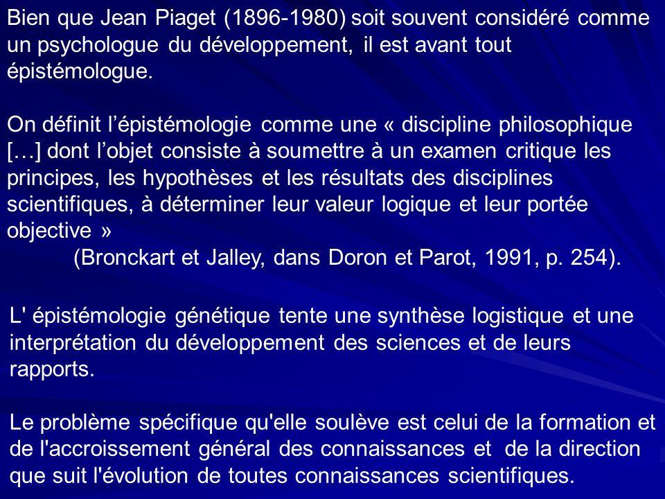 L épistémologie génétique tente une synthèse logistique et une interprétation du développement des sciences et de leurs rapports.