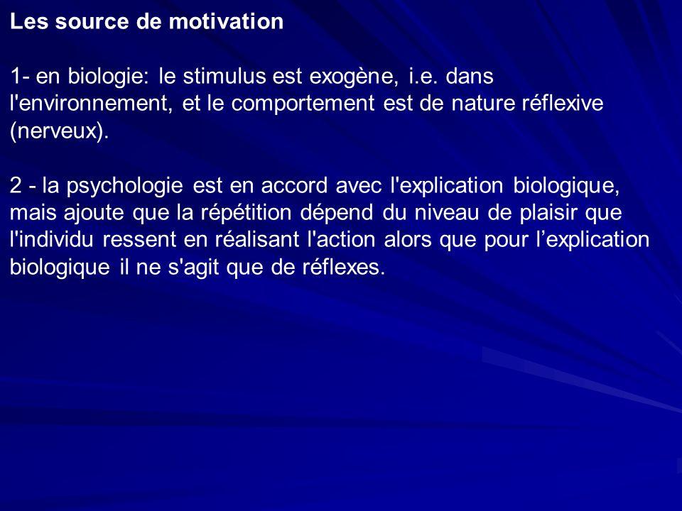 Les source de motivation 1- en biologie: le stimulus est exogène, i.e.