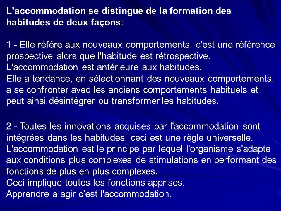 L accommodation se distingue de la formation des habitudes de deux façons: 1 - Elle réfère aux nouveaux comportements, c est une référence prospective alors que l habitude est rétrospective.
