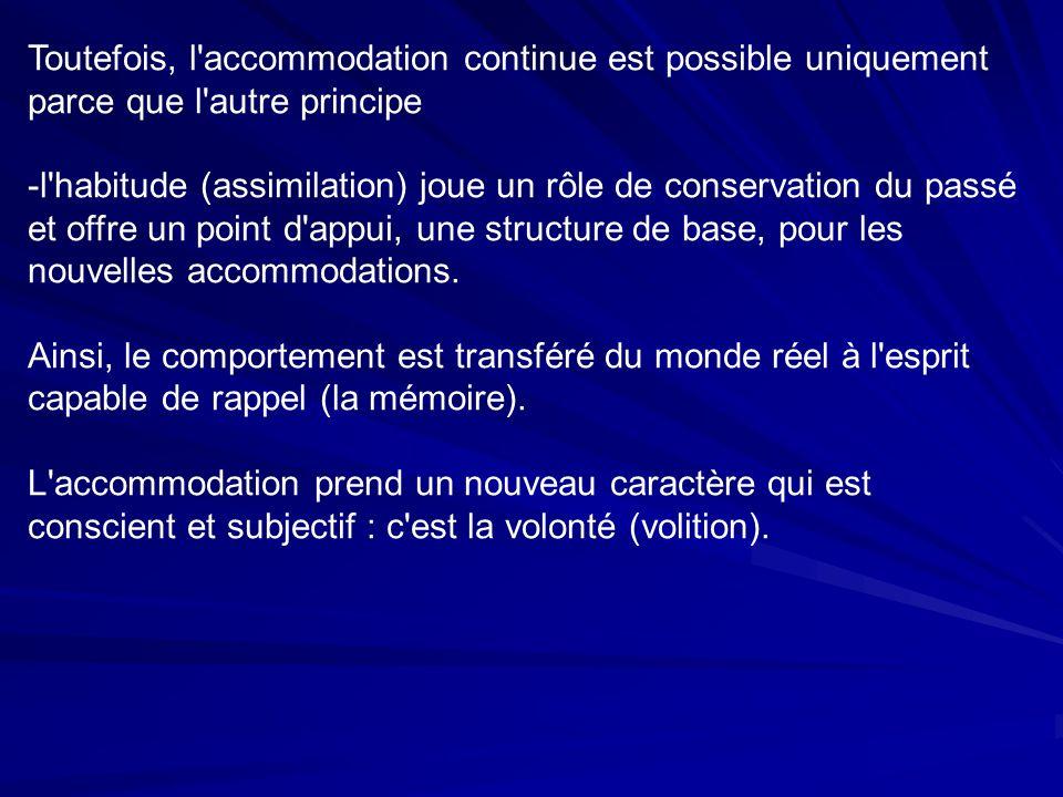 Toutefois, l accommodation continue est possible uniquement parce que l autre principe -l habitude (assimilation) joue un rôle de conservation du passé et offre un point d appui, une structure de base, pour les nouvelles accommodations.