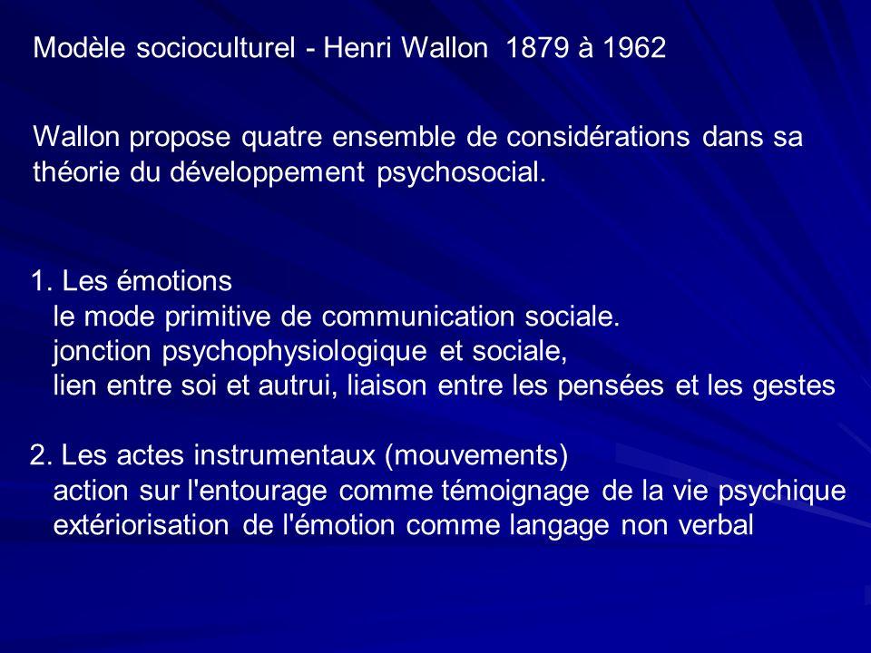 Modèle socioculturel - Henri Wallon 1879 à 1962 Wallon propose quatre ensemble de considérations dans sa théorie du développement psychosocial.