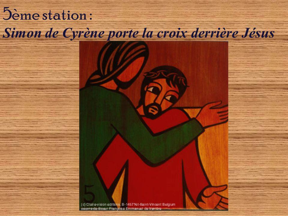 O Christ, qui as conféré à Simon de Cyrène la dignité de porter Ta croix, accueille-nous aussi sous son poids, accueille tous les hommes et donne à chacun la grâce dêtre disponible à leurs frères souffrants.