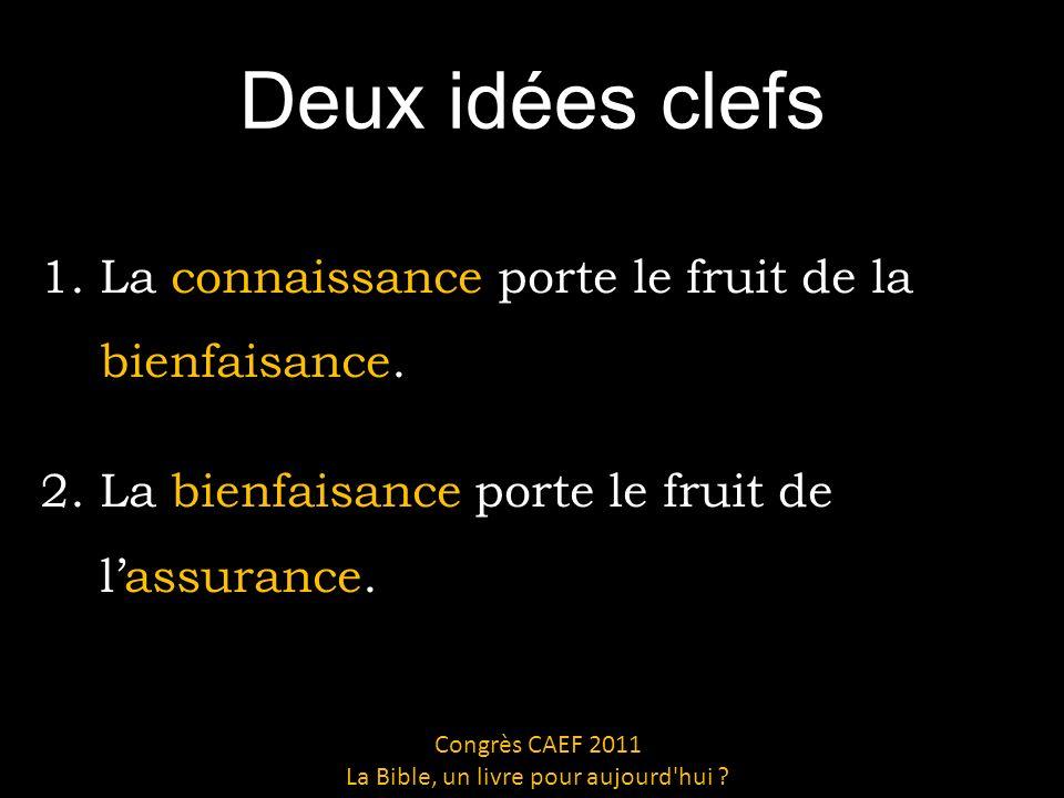 Deux idées clefs 1.La connaissance porte le fruit de la bienfaisance.