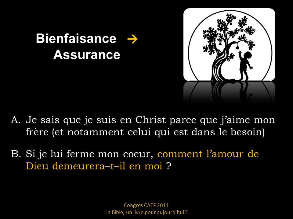 Bienfaisance Assurance A.Je sais que je suis en Christ parce que jaime mon frère (et notamment celui qui est dans le besoin) B.Si je lui ferme mon coeur, comment lamour de Dieu demeurera–t–il en moi .