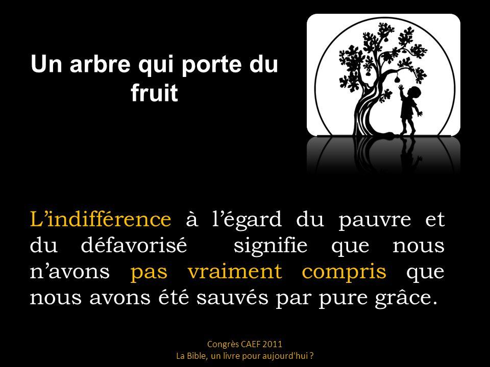 Un arbre qui porte du fruit Lindifférence à légard du pauvre et du défavorisé signifie que nous navons pas vraiment compris que nous avons été sauvés par pure grâce.