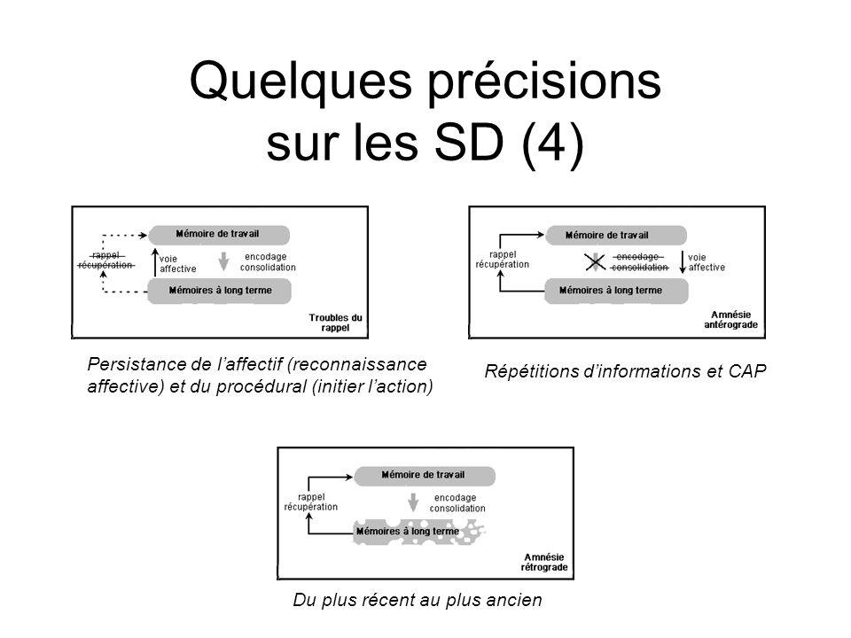 Quelques précisions sur les SD (4) Répétitions dinformations et CAP Du plus récent au plus ancien Persistance de laffectif (reconnaissance affective) et du procédural (initier laction)