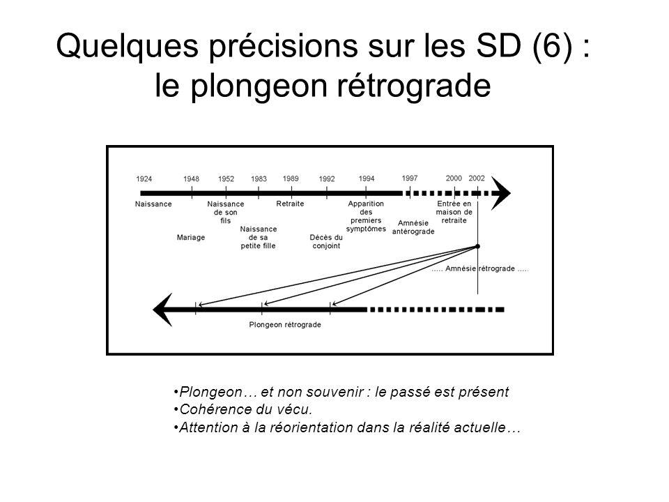 Quelques précisions sur les SD (6) : le plongeon rétrograde Plongeon… et non souvenir : le passé est présent Cohérence du vécu.