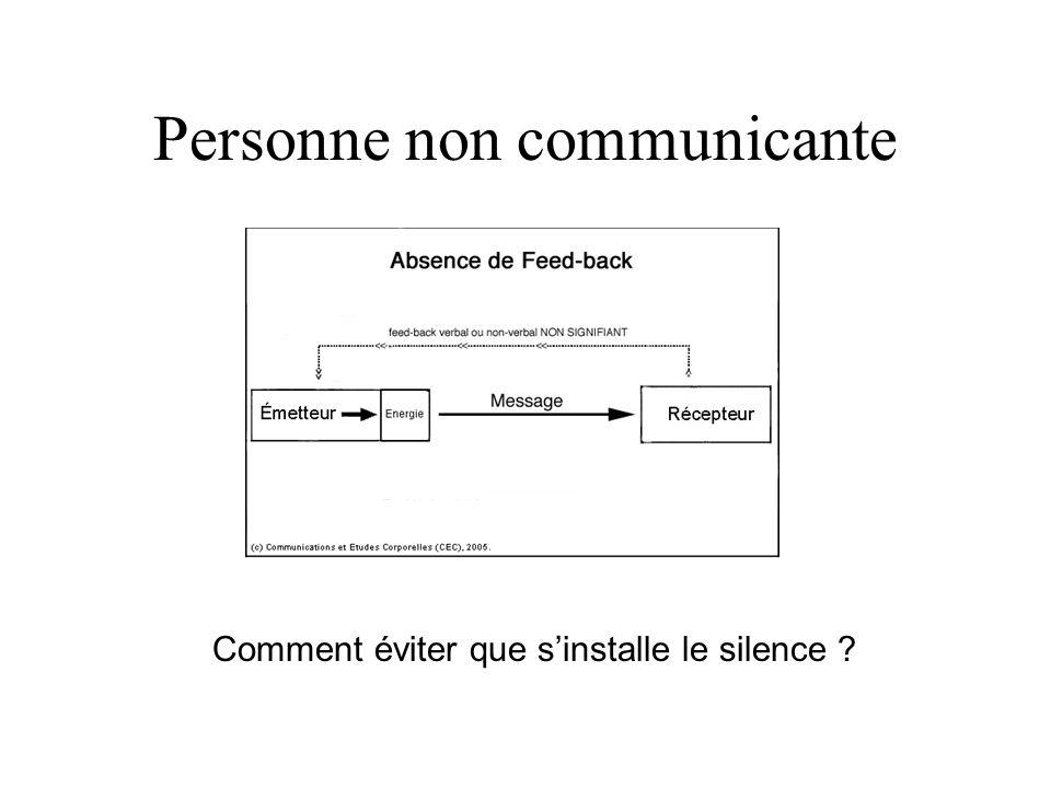 Personne non communicante Comment éviter que sinstalle le silence