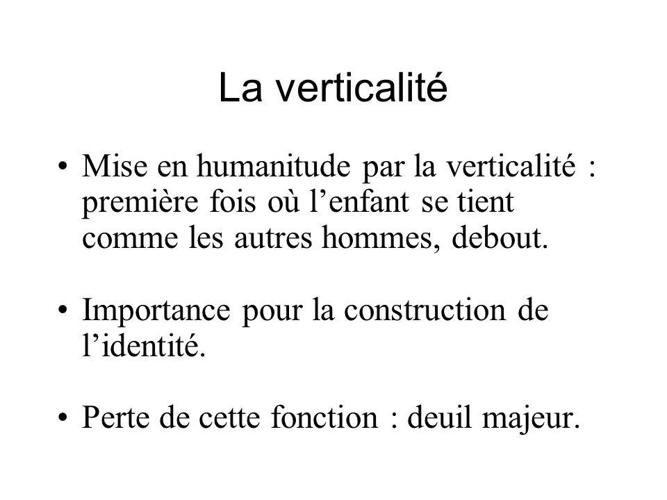 La verticalité Mise en humanitude par la verticalité : première fois où lenfant se tient comme les autres hommes, debout.
